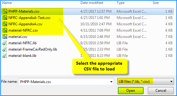 Material Library: Import from a CSV file | Windows and